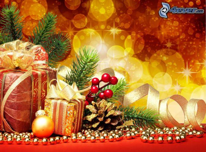 cadeaux, bulle de Noël, beignet
