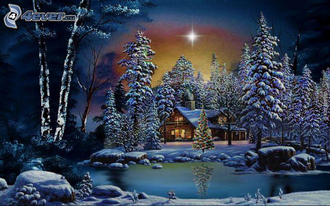 chalet enneigé, arbres enneigés, arbre de Noël, rivière, reflexion, étoile, nuit, dessin animé