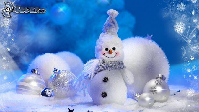 homme de neige, boules de Noël