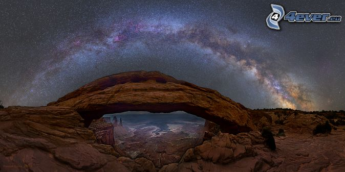 Mesa Arch, porte de roche, ciel étoilé, Voie lactée, ciel de la nuit