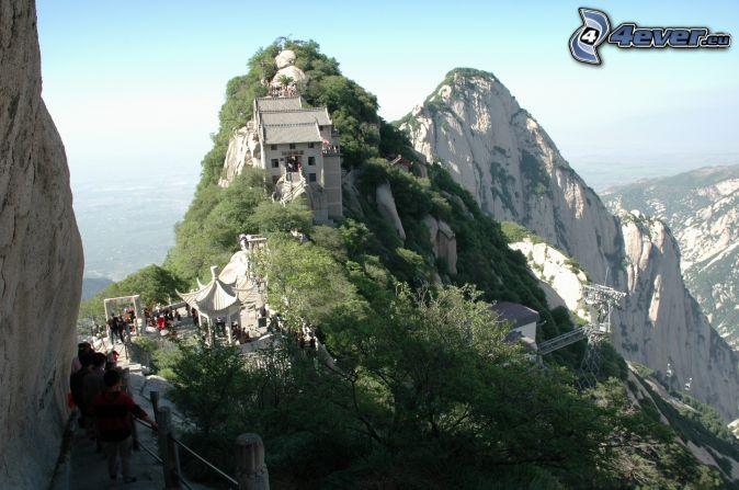 Mount Huang, maison, trottoir, montagnes rocheuses