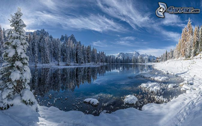 paysage enneigé, lac de montagne, forêt enneigée