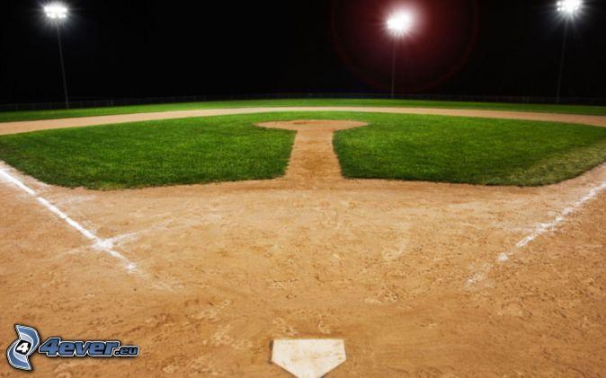 baseball, aire de jeux, réverbère