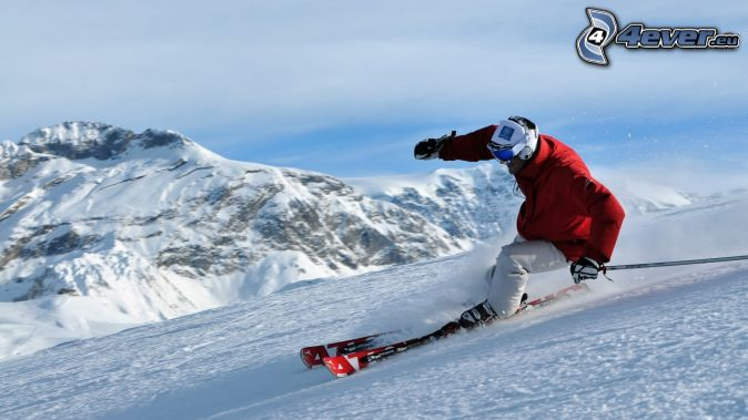ski, montagne neige