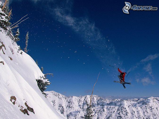 ski, ski saute, collines enneigées