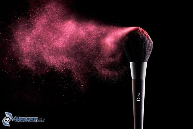 brosse, make-up, couleur rose