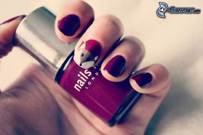 ongles peints, vernis, main