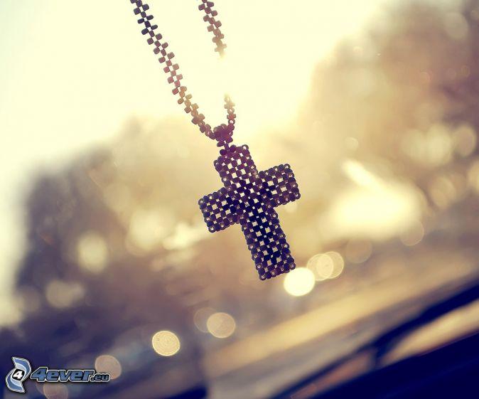 pendentif, collier, croix, soleil