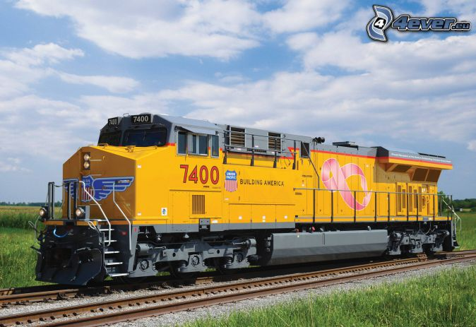locomotive, Union Pacific, rails