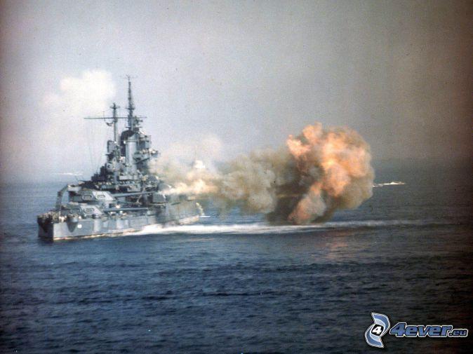 USS Idaho, explosion, ouvert mer