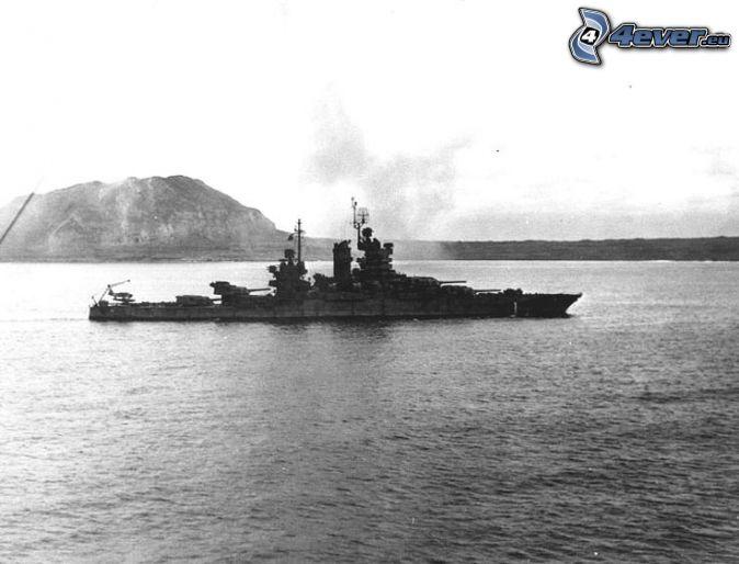 USS Idaho, mer, photo noir et blanc