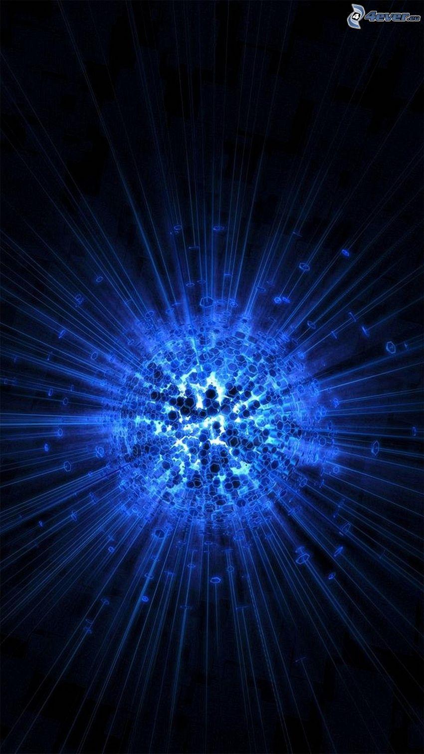 balle, hexagones, lignes bleues, fond bleu