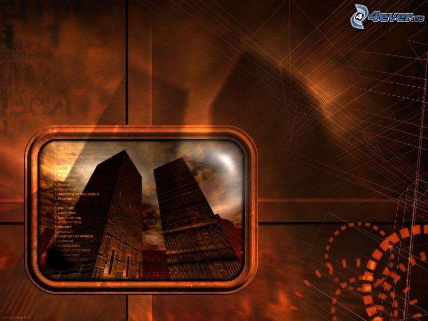 bâtiments, abstrait
