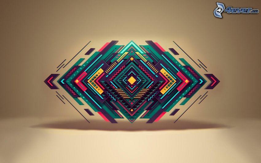 carrés colorés, abstrait