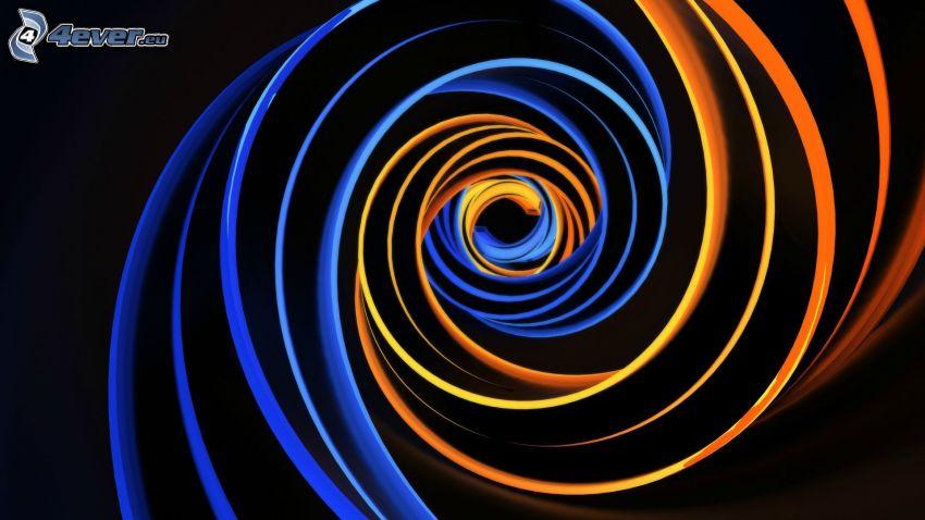 des lignes colorées, lignes bleues, Lignes oranges, fond noir