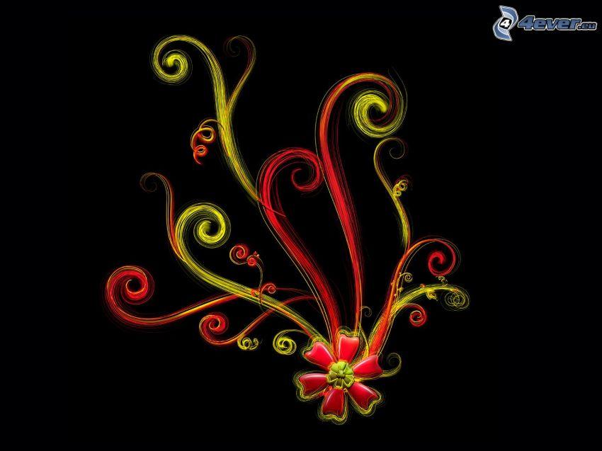 fleur, des lignes colorées