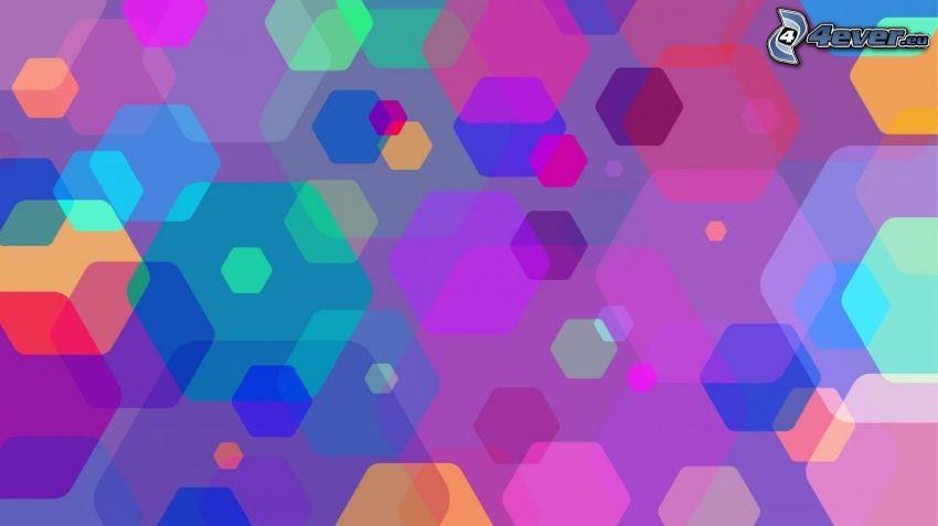 hexagones, couleurs