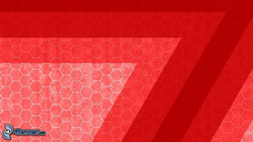 le fond rouge, hexagones