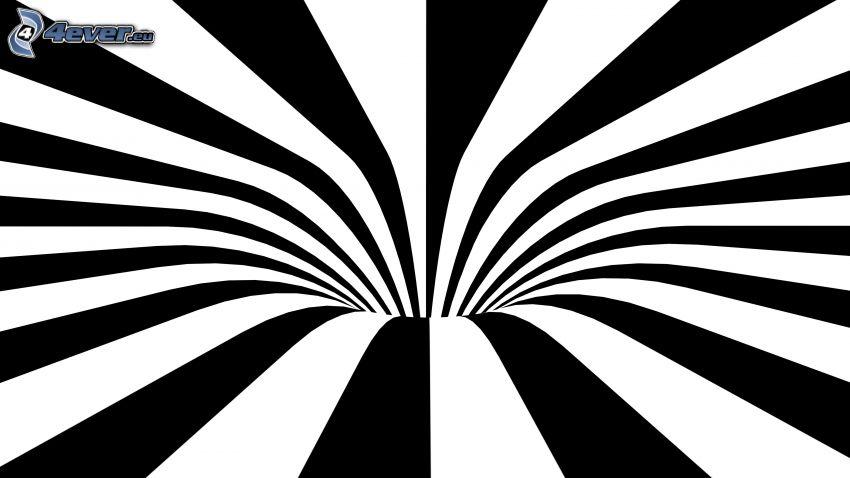 tunnel abstrait, noir et blanc, bandes