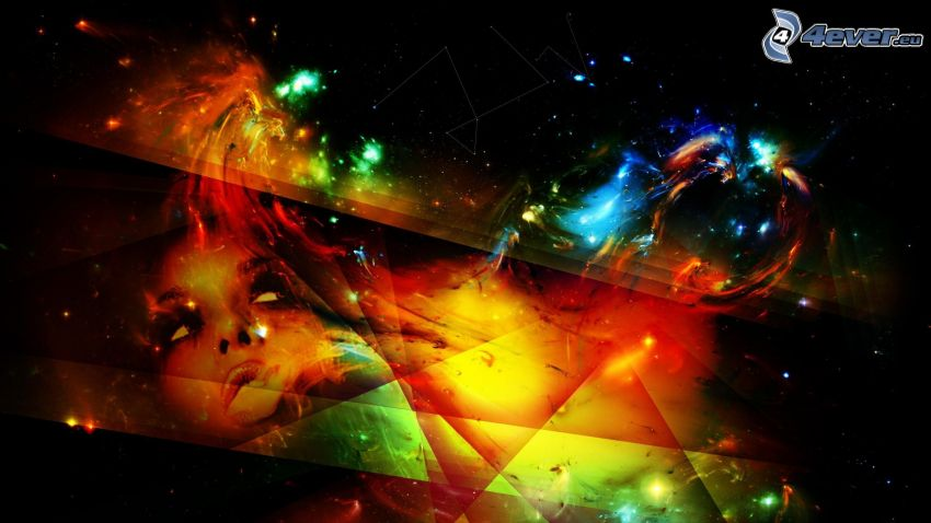 univers, triangles abstraites, visage, nébuleuse
