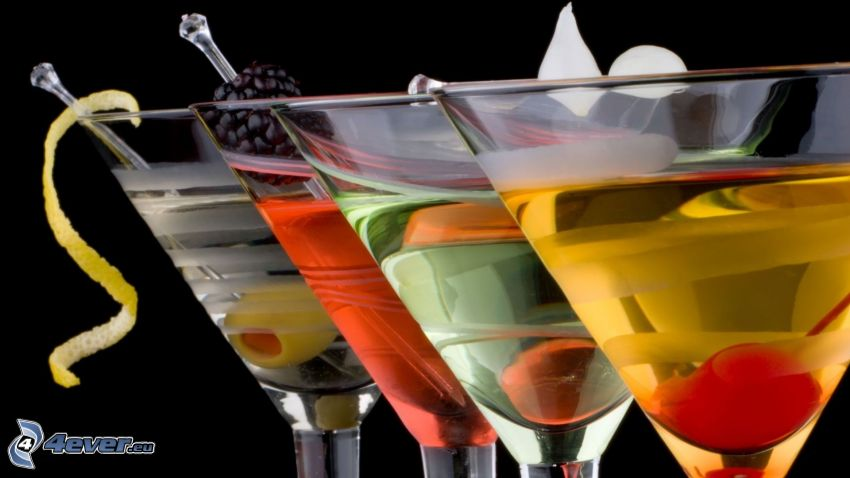 boissons, cocktail, olives, cerise, mûre