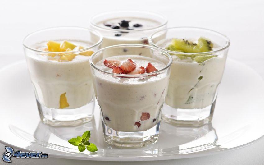 boissons lactées, fruits