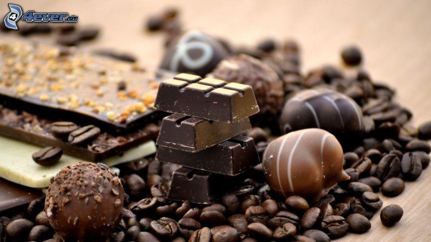 bonbons, chocolat, café en grains