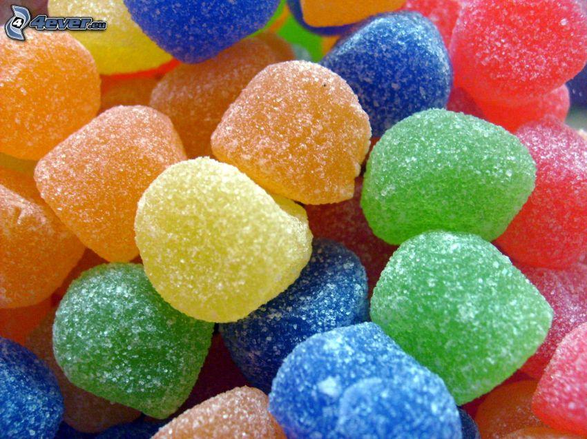 bonbons colorés, bonbons caoutchouc
