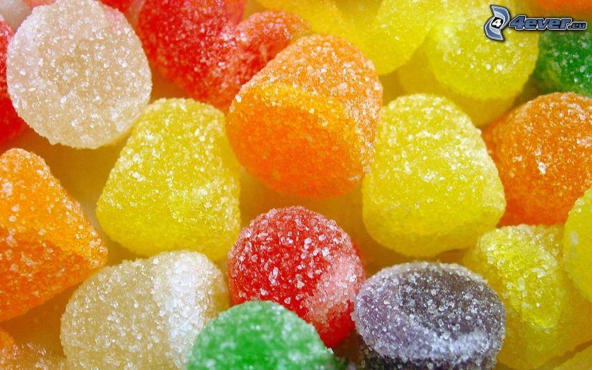 bonbons colorés, gelée