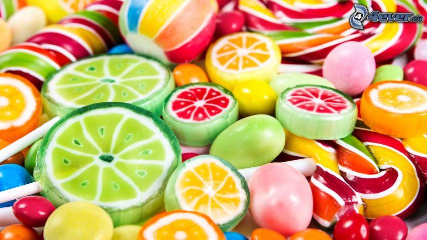 bonbons colorés, sucettes colorées