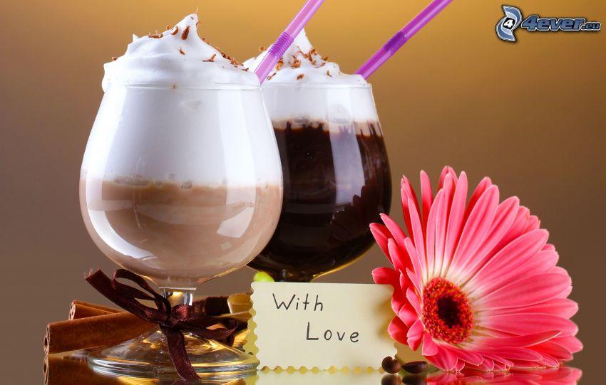 café, cappuccino, gerbera