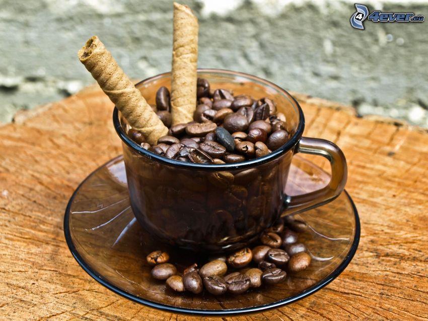 café en grains, gaufrettes roulées