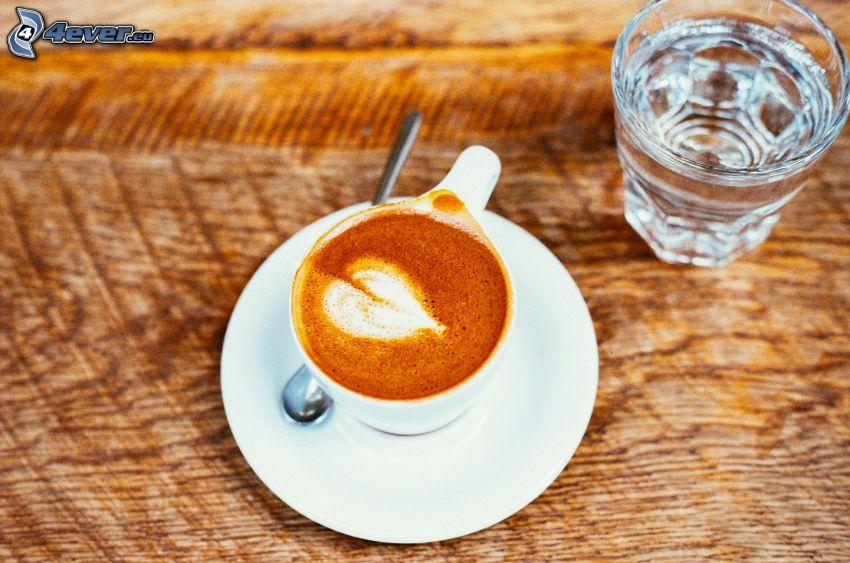 cappuccino, mousse, cuillère, eau