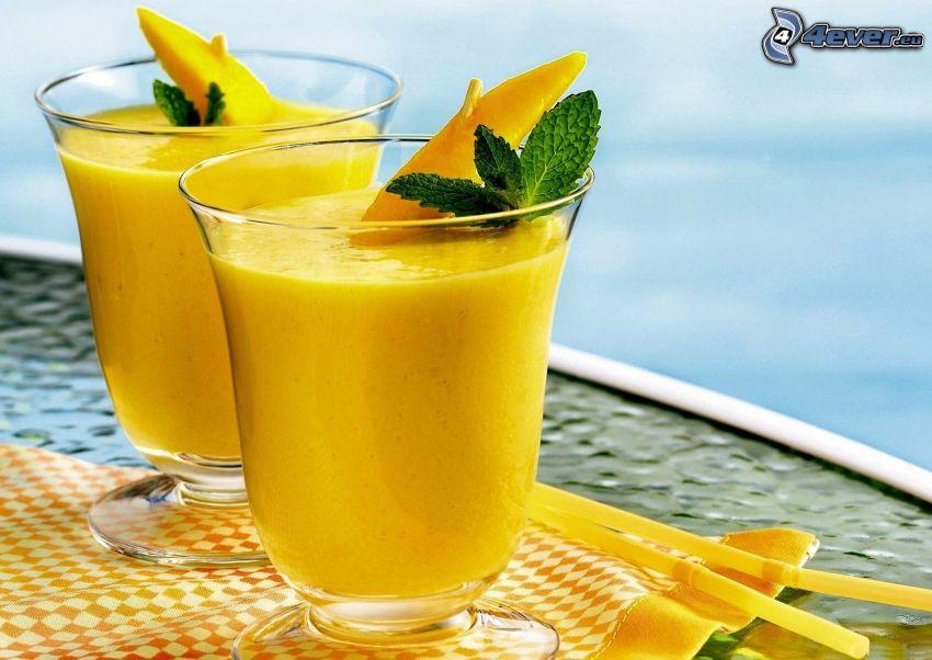 cocktail, mangue, feuilles de menthe, pailles
