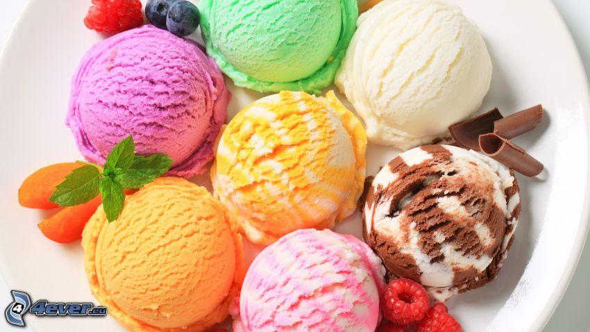 crème glacée, framboises, myrtilles, feuilles de menthe