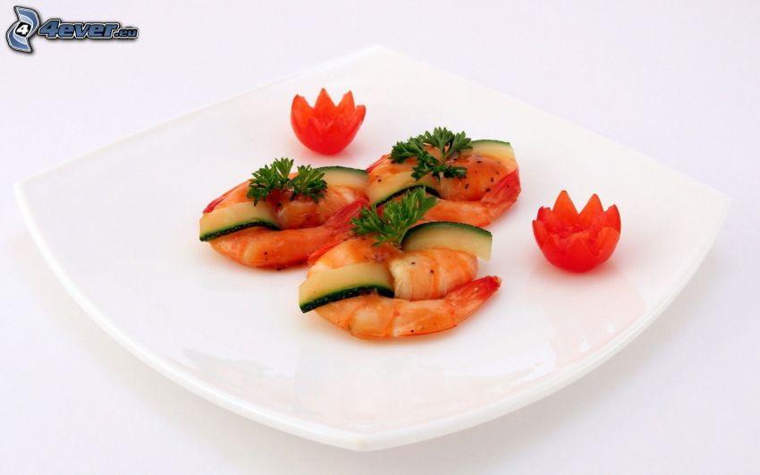 Fruits de mer, assiette, tomates