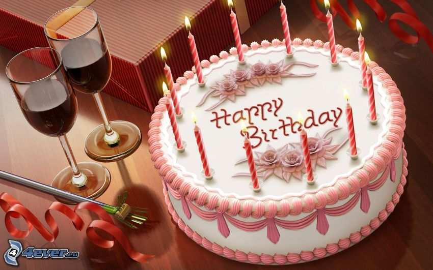 gâteau, bougies, vin