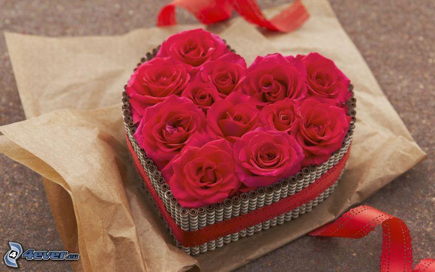 gâteau, roses rouges, cœur