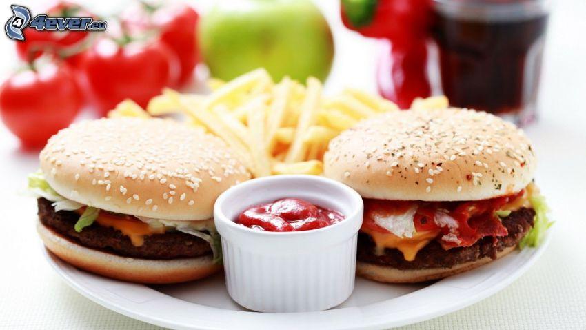 hamburger, fries, ketchup