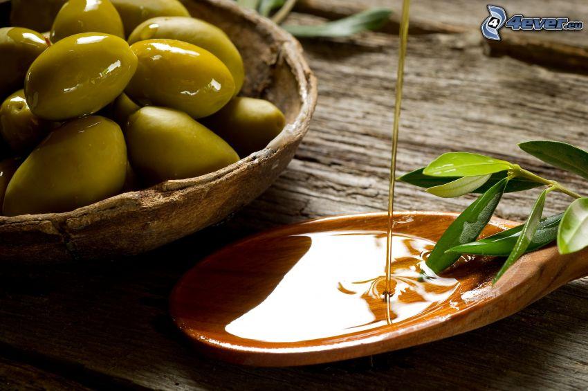 huile d'olive, olives, cuillère, brindille