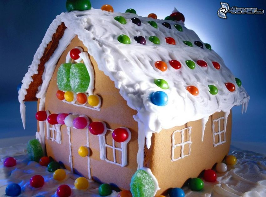la maison en pain d'épice, bonbons colorés