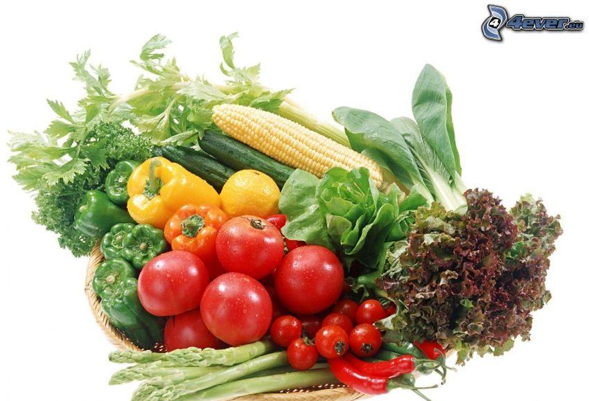 légumes, tomates, tomates cerises, poivrons, salade, maïs, concombres