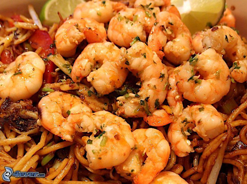 les crevettes, spaghetti