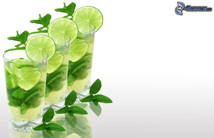 mojito, boissons mélangées, limes, feuilles de menthe