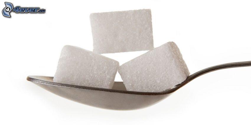 morceaux de sucre, cuillère