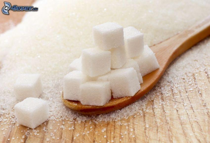 morceaux de sucre, sucre, cuillère