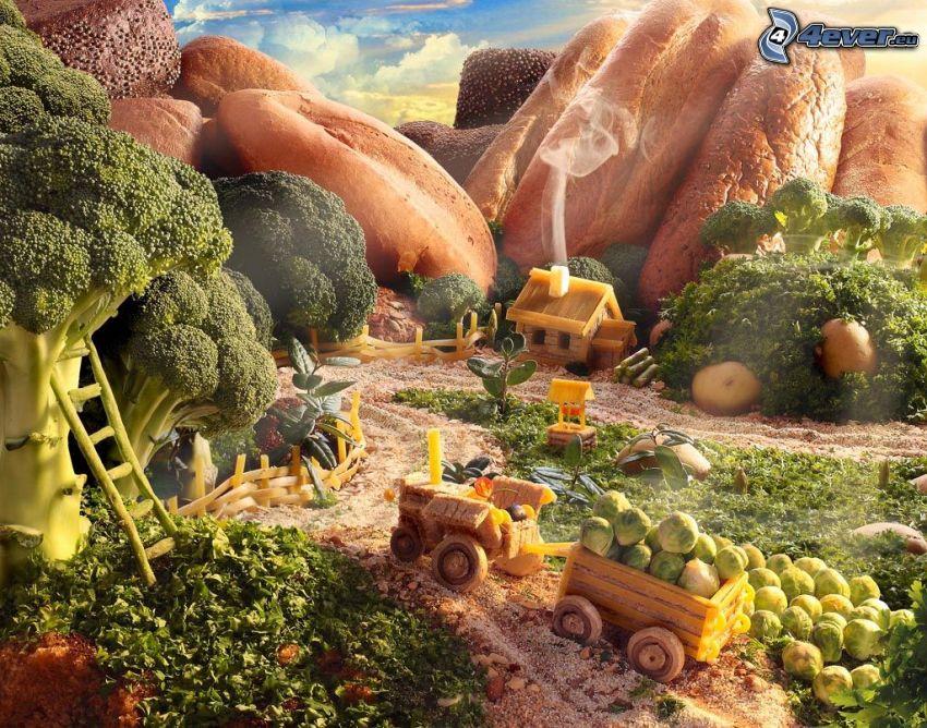 paysage, la nourriture, chou, épinards, baguettes