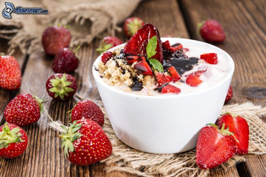 petit-déjeuner, fraises, muesli, bol