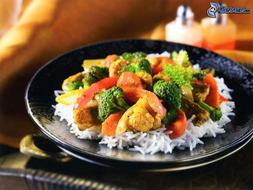 riz, légumes, viande