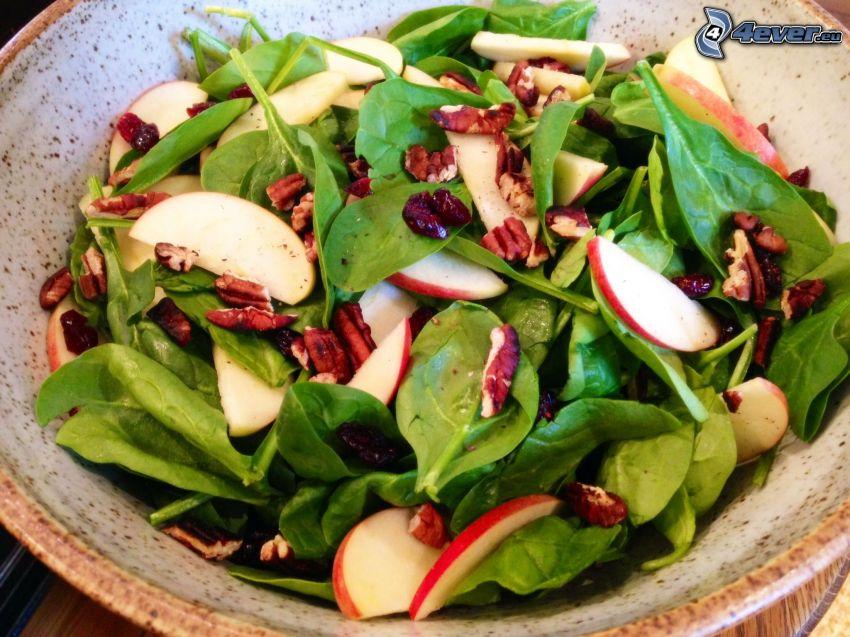 salade, épinards, radis, noix